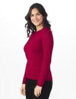 Roz & Ali Pointelle Ruffle Trim Pullover Sweater - 4
