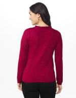 Roz & Ali Pointelle Ruffle Trim Pullover Sweater - Velvet Red - Back