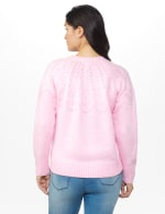 Roz & Ali Pointelle Pullover Sweater - Pink Cream - Back