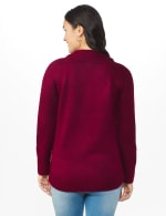 Westport Cable Detail Curved Hem Sweater - Velvet Red - Back