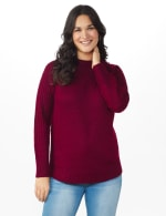 Westport Cable Detail Curved Hem Sweater - Velvet Red - Front