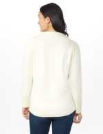 Westport Cable Detail Curved Hem Sweater - Very Vanilla - Back