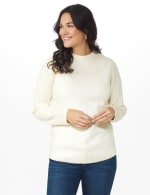 Westport Cable Detail Curved Hem Sweater - Very Vanilla - Front