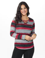 DB Sunday Lace Up Stripe Hacci Knit Top - Misses - Multi - Front