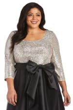 Plus Pleated Sequin High Low Dress - 3