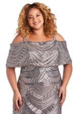 Plus All Over Beaded Swirl Pattern Off The Shoulder Caplet Mermaid Dress - Mocha - Detail