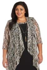 Plus Puff Print Swing Jacket Dress - Black / Taupe - Detail