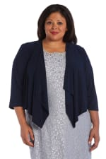 Draped, Open Jacket with Sheer Back Panels and 3/4 Sleeves - Plus - Navy - Front