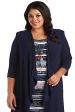 Plus Flyaway Knit Jacket Dress with Multi-Striped Dress and Necklace - 3