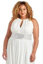 Sleeveless Maxi Dress with Embellished Waist Band and Keyhole Cutout - Plus - 3