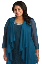 Beaded Lace Neckline with Cascade Jacket - Plus - 28