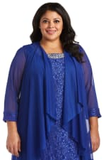 Beaded Lace Neckline with Cascade Jacket - Plus - Royal Blue - Detail