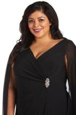 Plus Chiffon Duster Cape Surplice Wrap Dress - Black - Detail