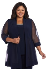 Plus Faux Three-Piece Pant Suit with Sheer Inserts, Beading and Diamante - Navy - Detail