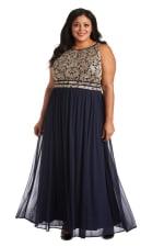 Plus Long Glitter Lace Bodice Keyhole Halter Dress - Navy / Gold - Front