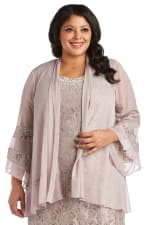 Chiffon Jacket and Dress with Bell Sleeves - Plus - 5