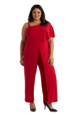 Asymmetric Jumpsuit with Overlay and Draped Sleeves - Plus - Red - Front