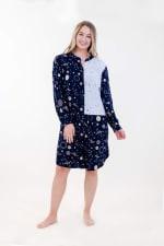 Dual Print Mandarin Collar Dress - Navy - Front