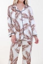 Brown Fleur Long Pajama Set - Ivory / Meerkat / Navy - Detail