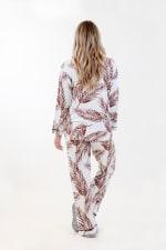 Brown Fleur Long Pajama Set - Ivory / Meerkat / Navy - Back
