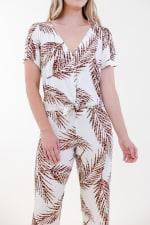 Fleur Front-Tie Pajama Set - Ivory / Meerkat / Navy - Detail