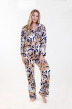 Exotic Long Pajama Set - Ivory / Meerkat / Navy - Front