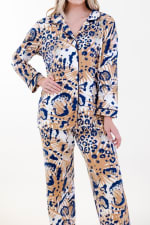 Exotic Long Pajama Set - Ivory / Meerkat / Navy - Detail