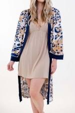 One Spirit Exotic Fleur Mid Robe - Ivory / Meerkat / Navy - Detail