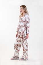 Brown Fleur Long Pajama Set - 4