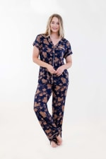 Golden Vine Pajama Set - Navy Merkat - Front