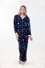 Navy Polygonal Long Pajama Set - Navy - Front