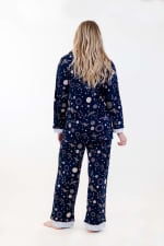 Navy Polygonal Long Pajama Set - Navy - Back