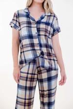 Brown Plaid Pajama Set - 3