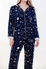 Navy Polygonal Long Pajama Set - 3