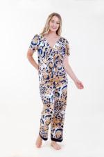 Exotic Front-Tie Pajama Set - Ivory / Meerkat / Navy - Front