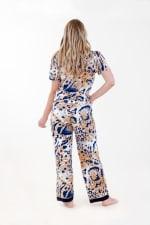 Exotic Front-Tie Pajama Set - Ivory / Meerkat / Navy - Back