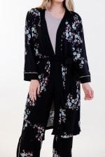 Floral Long Wrap Robe - 1