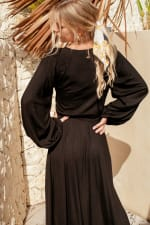 Linda Midi Dress- Plus - Black - Back