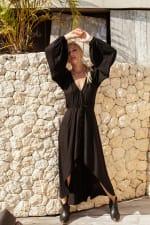 Linda V-Neck Midi Dress - Plus - Black - Front