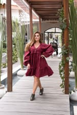 Texas Rose V-Neck Boho Dress - Plus - Ruby - Back