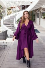 Linda V-Neck Midi Dress - Violet - Front