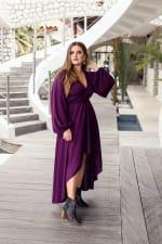 Linda V-Neck Midi Dress - Violet - Back