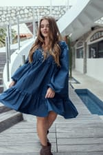Texas Rose V-Neck Boho Dress - Navy Blue - Front
