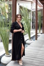 Whisper Light V-Neck Maxi Dress - Black - Back