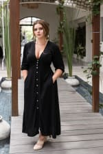 Whisper Light V-Neck Maxi Dress - Plus - Black - Front