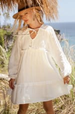 Texas Rose V-Neck Boho Dress - Plus - White - Front