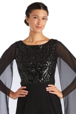 Scroll Panel EMB Sequin Power Mesh Capelet Jumpsuit - 4