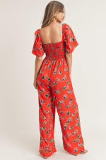 Smocked Square Neck Wide Leg Jumpsuit - Coral Print - Back