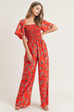 Smocked Square Neck Wide Leg Jumpsuit - Coral Print - Front
