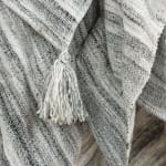"Charcoal 100% Recycled Polyester Solid Stripe 50""x60"" Throw - Grey - Detail"